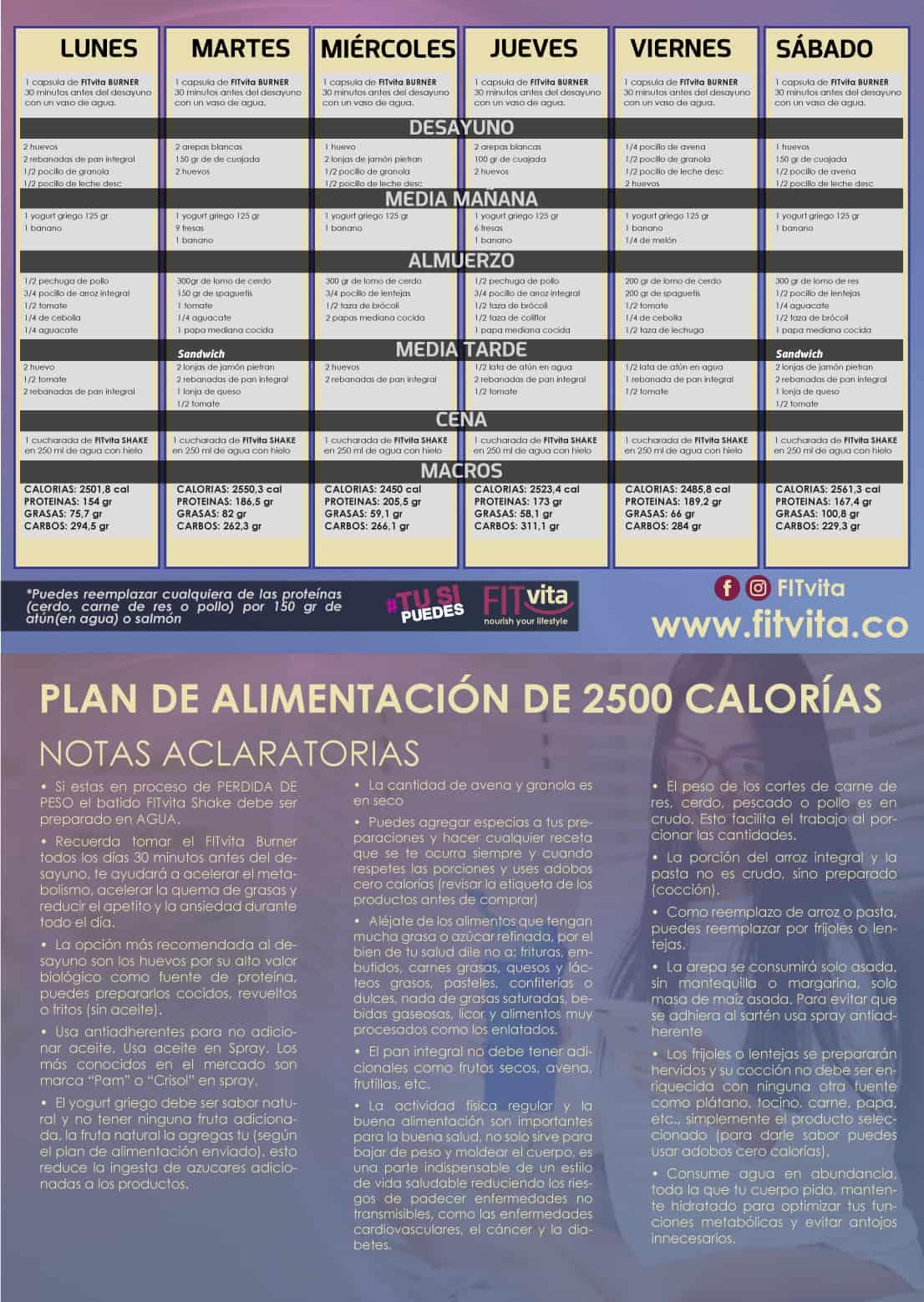 plan de alimentación de 2500 calorías - FITvita